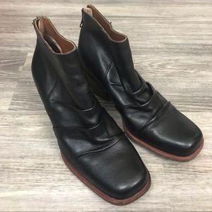 Kork-Ease Kissel Black Leather Booties, Size 7.5